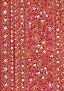 """Bric Flowers"", French Border Stripe Fabric 67"
