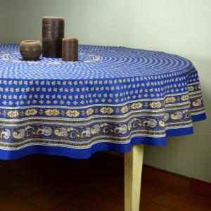 "Provencal Round Cotton Tablecloth blue ""Camélias"