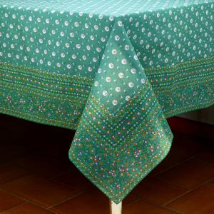 "Provencal Rectangle Cotton Tablecloth Green ""Flowers"" 63"" x 79"