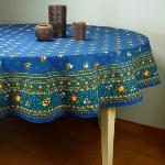 "Provencal Round Cotton Tablecloth Cyan ""Farandole"
