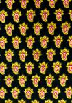 """Black Flamo"", 100% mercerized printed cotton fabric"