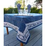 "Provencal Rectangle Cotton Tablecloth Blue/White ""Vaccares"""