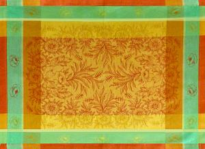Set of 4 Yellow French Jacquard Placemat with Orange Epis