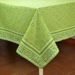 "Provencal Square Cotton Tablecloth Green ""Roussillon"" 67"" x 67"