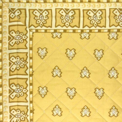 "Beige Provencal quilted table runner ""Roussillon"" 14x28 inch"