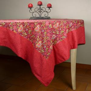 "Provencal Square Cotton Tablecloth red ""Colombes"