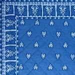 "Blue Provencal quilted table runner ""Roussillon"" 14x28 inch"