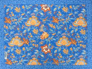 "Provencal quilted cotton Placemat Blue ""Colombes"" 14x18"