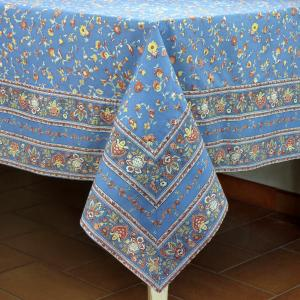 "Provencal Rectangle Cotton Tablecloth Light blue Country 63""x79"