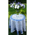 White Round Cotton Tablecloth blue pattern 71 inches