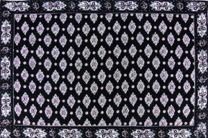"French Cotton Placemat Black ""White Calissons"" 12x18"