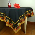 "Provencal Square Cotton Tablecloth black plain ""Epis"