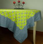 "Provencal Square Cotton Tablecloth green ""Batiste"" 61""x61"""