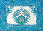 "French Quilted Cotton Blue Placemat ""Haveli"" 14x18''"