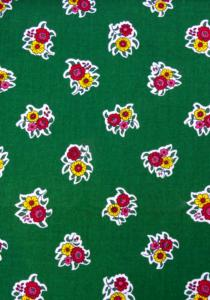 """Green Flowers"", 100% French country cotton fabric 55"