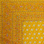 "Provencal Square Cotton Tablecloth Ocher ""Flowers"" 63"" x 63"