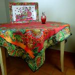 "Square Cotton Tablecloth Red pattern India size 61""x61"""