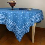 "Provencal Rectangle Cotton Tablecloth Blue ""Roussillon"""