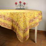 "Provencal Square Cotton Tablecloth yellow ""Country"