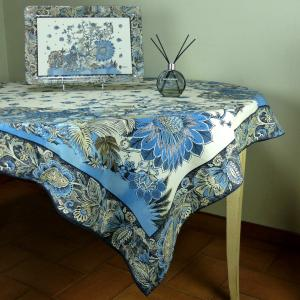Square Cotton Tablecloth Blue pattern India
