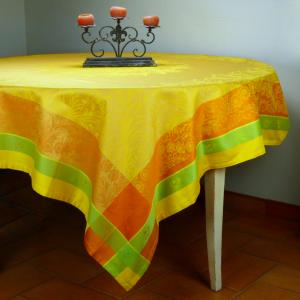 Square French Jacquard Yellow Tablecloth Yellow Epis 69x69 inches