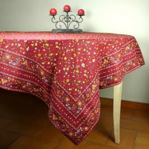 "Provencal Square Cotton Tablecloth red ""Country"