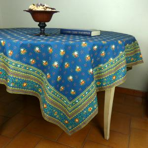 "Provencal Square Cotton Tablecloth blue ""Farandole"