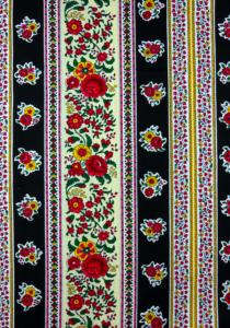 """Black Flowers"", French Border Stripe Fabric 55"