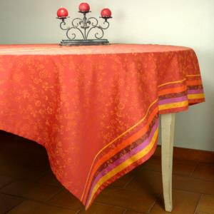 "Set of Square French Jacquard Red Tablecloth ""Country"" and its 4 napkins"
