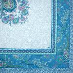 "Square Cotton Tablecloth Blue pattern Haveli 63""x63"""