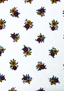 """White Flowers"", 100% French country cotton fabric 55"