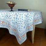 "Provencal Square Cotton Tablecloth light blue ""Floral"
