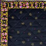"Provencal Quilted Cotton Placemat Black ""Stars"" 12x18"