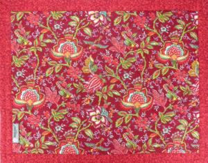 "Provencal quilted cotton Placemat Red ""Colombes"" 14x18"