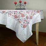 "Provencal Rectangle Cotton Tablecloth Ecru ""Colombes"