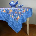 "Provencal Rectangle Cotton Tablecloth Blue ""Colombes"