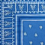 "Provencal Square Cotton Tablecloth Blue ""Roussillon"" 67"" x 67"