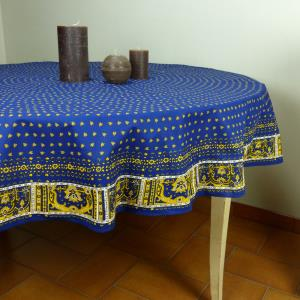"Set of Provencal Round Cotton Tablecloth Blue ""Bees"" and 6 napkins"