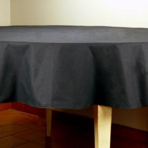 Provencal Round Cotton Tablecloth plain Black 71 inches