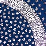Blue Round Cotton Tablecloth White pattern 69 inches
