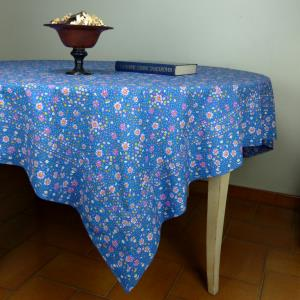 "Provencal Rectangle Cotton Tablecloth Blue ""Liberty"""