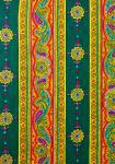"""Green Volutes"", French Border Stripe Fabric 55"