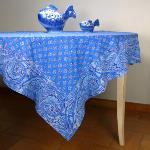 "Provencal Square Cotton Tablecloth Blue ""White Calissons"