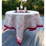 Provencal Square ecru Tablecloth with red patterns