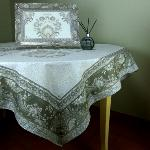 "Square Cotton Tablecloth Taupe pattern Haveli 63""x63"""
