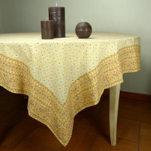 "Provencal Rectangle Cotton Tablecloth Beige ""Fleurettes"""