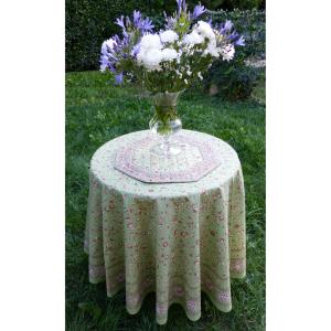 "Set of Provencal Round Cotton Tablecloth Green ""Country"" and 6 napkins"