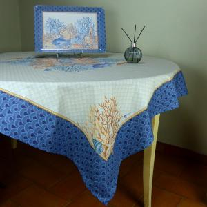 "Rectangle Cotton Tablecloth Blue pattern Recif 63""x98"