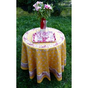 "Old yellow Round Cotton Tablecloth ""Floral"" 69 inches"