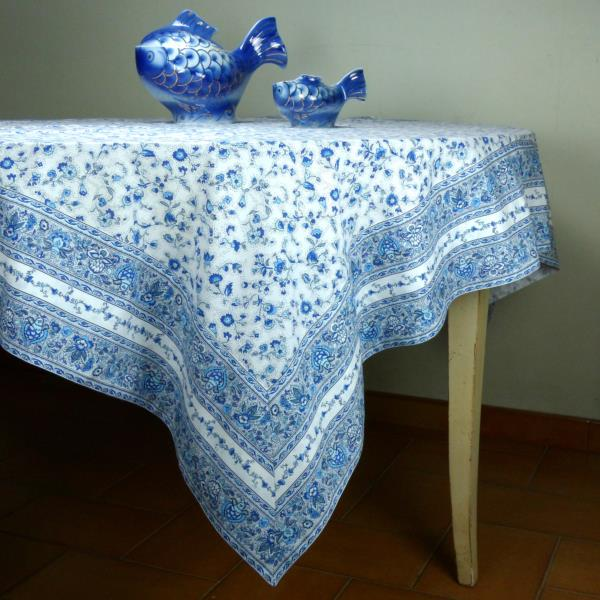 Provencal square cotton tablecloth white blue country for White cotton table cloth
